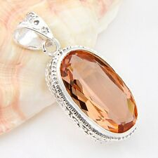 New Arrival Australia Vintage Oval Attractive Honey Morganite Gem Silver Pendant