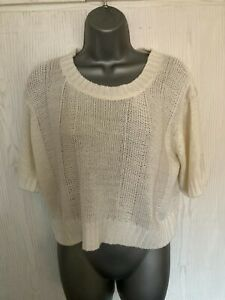 LADIES FLORENCE & FRED CROPPED WIDE FIT ACRYLIC SHORT SLEEVED JUMPER - SIZE 12