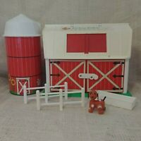 Vintage 1980's Fisher Price Play Family Farm Barn Silo Dog Fence Feed Trough