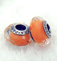 2 PANDORA Silver 925 Murano Charm Faceted Orange Beads #283M