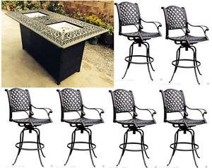 Patio bar set 7pc double burner fire pit table Nassau cast aluminum furniture.