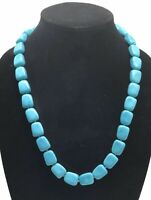 """Crown Trifari Necklace Lucite Chunky Blue Faux Turquoise Stone Beads Matinee 24"""""""