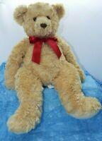 "Cuddle Callie Teddy Bear By Douglas 14"" Stuffed Beige With Red Bow"