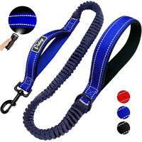 2 Handle Large Dog Leads Pet Bungee Leash Reflective Nylon Rope Heavy Duty Blue