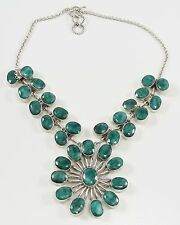 Sterling Silver India Pre-emerald Green Beryls Necklace
