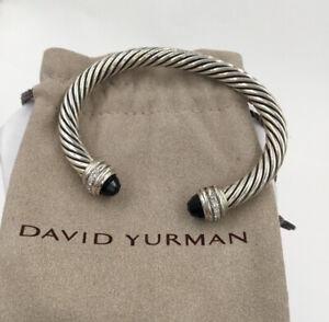 Sterling Silver David Yurman Black Onyx And Diamond Classic Cable Cuff