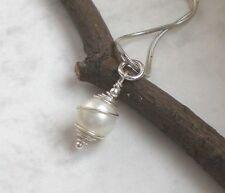 Muschelkern Anhänger weiß 925 Silber, Perlenanhänger Perle Sterlingsilber r133