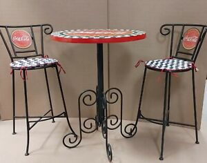 Vintage COCA-COLA Collectible Bistro Table with Chairs - Outdoor Summer Dining