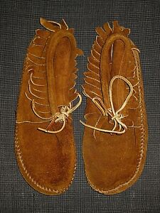 VINTAGE MINNETONKA MOCCASIN 4879 BROWN SUEDE LEATHER FRINGE SHOES WOMENS 7.5