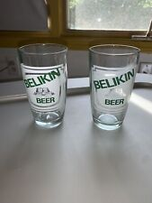 LOT OF 2 BELIKIN BREWERY BEER GLASS -LADYVILLE, BELIZE-MAYAN TEMPLE