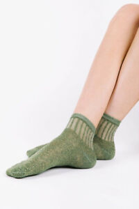 Free People Womens Roseland Metallic ACCS1711 Socks Green