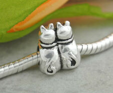 HANDMADE SILVER EUROPEAN Charm Bead for Bracelet H67 TWIN CAT SISTERS CATS PET