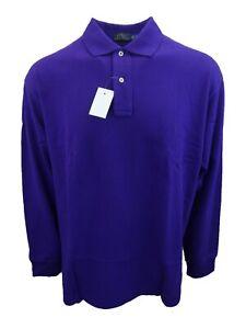 Men's Big & Tall Long Sleeve Mesh Cotton Polo Shirt Purple