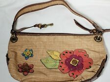 Fossil Shoulder Bag Handbag Knit Leather Trim Beige Multi-color Flowers