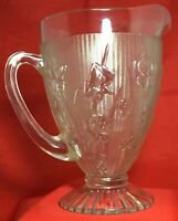 Vintage Clear Depression Glass Jeanette Iris & Herringbone Large Footed Pitcher