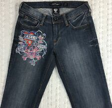 ED HARDY Junior's Blue Jeans Size 27 Sparkly Sequin Embellishment Cuffed CUTE