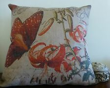 Tiger Lillies and Butterfly Linen Look Cushion Cover with French Script 45x45