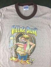 True Vintage 80s Funny Village Drunk Iron-On Transfer Beer Brown Ringer T-Shirt