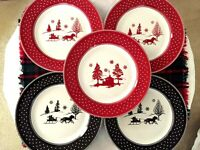 "222 Fifth Adirondack Black & Red Winter Scene 8"" Desert/Salad Plates Set of 5"