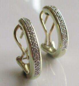 Gold Diamond Earrings - 9ct Yellow Gold Diamond Hoop Omega Clip Earrings