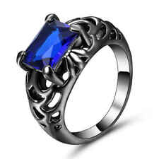 Fashion Round Cut Size 9 Blue Topaz 18K Black Gold Filled Womens Mens Ring Gift