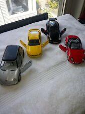 4 Kinsmart Brand Cars - Die-Cast 2 Door black Porsche  & Red BMW Toy Cars