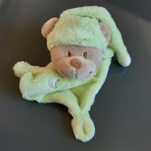 Doudou Simba/Nicotoy ours vert pale plat