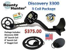 """BOUNTY HUNTER DISCOVERY 3300 Metal Detector """"3 Coil Package"""""""
