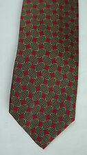 Brooks Brothers Silk Neck Tie - Red Green Gold Ovid/Oval Link Pattern