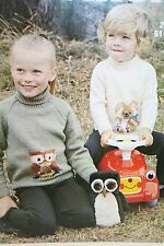 Childs Jumper with Owl or Rabbit Motif Knitting Pattern (MC009)