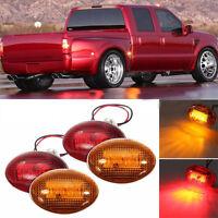 For 1999-2010 Ford F350 Amber/Red Side Fender Marker Dually Bed LED Light Kit ZA