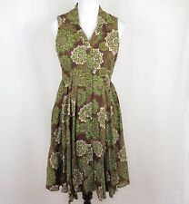 Maggy London Women Petite 8P Cotton Brown Green A-Line Skirt Sun Dress