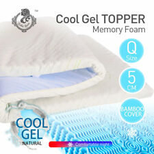 Cool Gel Memory Foam Mattress Topper with BAMBOO Fabric Cover Queen 5CM