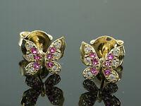 333 Gold Ohrstecker Schmetterlinge Grösse 6,5 x 7,3 mm Größe mit Rubin 1 Paar