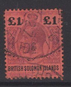 BRITISH SOLOMON IS. SG38 1914 £1 PURPLE & BLACK/RED FINE USED