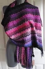 WOMENS  SCARF  pashmina MISSONI  PURPLE BLACK shawl  MADE ITALY ZIGZAG NEW TAGS