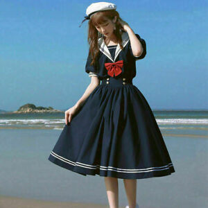 Girls Women Lolita Dress Sailor Collar Ruffle Kawaii Navy Cute Japanese Cosplay