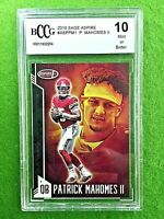 PATRICK MAHOMES GRADED CARD JERSEY #15 CHIEFS BECKETT BCCG 10 GEM MINT 2019 Sage
