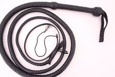 Genuine Cow Leather 8 Feet Long 12 Plait Weaving Bull Whip Black,Heavy Duty Whip