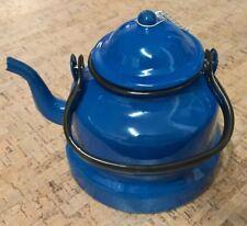Emaille Teekanne, Wasserkessel emailliert blau, mit Henkel, 1,5l - wie von Oma..