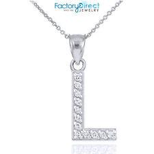 "Sterling Silver Letter ""L"" Initial CZ Monogram Pendant Necklace"