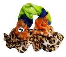 Multi-coloured Silk Blend Long Large Scarf Bright Winter Warm Shawl Wrap New