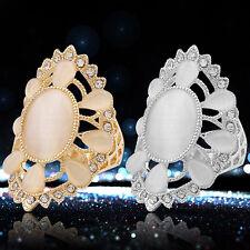 EG_ Women's Fashion Big Opal Rhinestone Hollow Decor Party Ring Gift Jewelry Adr