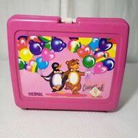 Lisa Frank Pengu Bear Plastic Thermos Lunch Box Hot Pink USA 90's Vintage