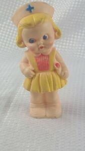 Vintage Squeaky Rubber Toy Nurse Doll