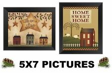 💗 Primitive Pictures 5x7 Home Sweet Rustic Lodge Log Cabin Wall Hangings Stars
