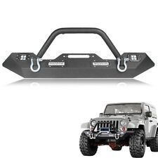Front Bumper for 2007-2018 Jeep Wrangler JK Winch Plate & Built-in LED Lights
