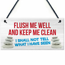 Red Ocean Toilet Flush Me Well Sign Funny Novelty Loo Door Hanging Home Gift