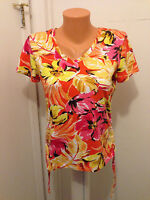Women's Caribbean Joe Island  Petite S  shirt  V-neck Polo Floral Pink Yellow