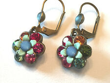 A Michal NEGRIN Enamel Swarovski Crystal Dangle Drop Earrings Multi Color Flower
